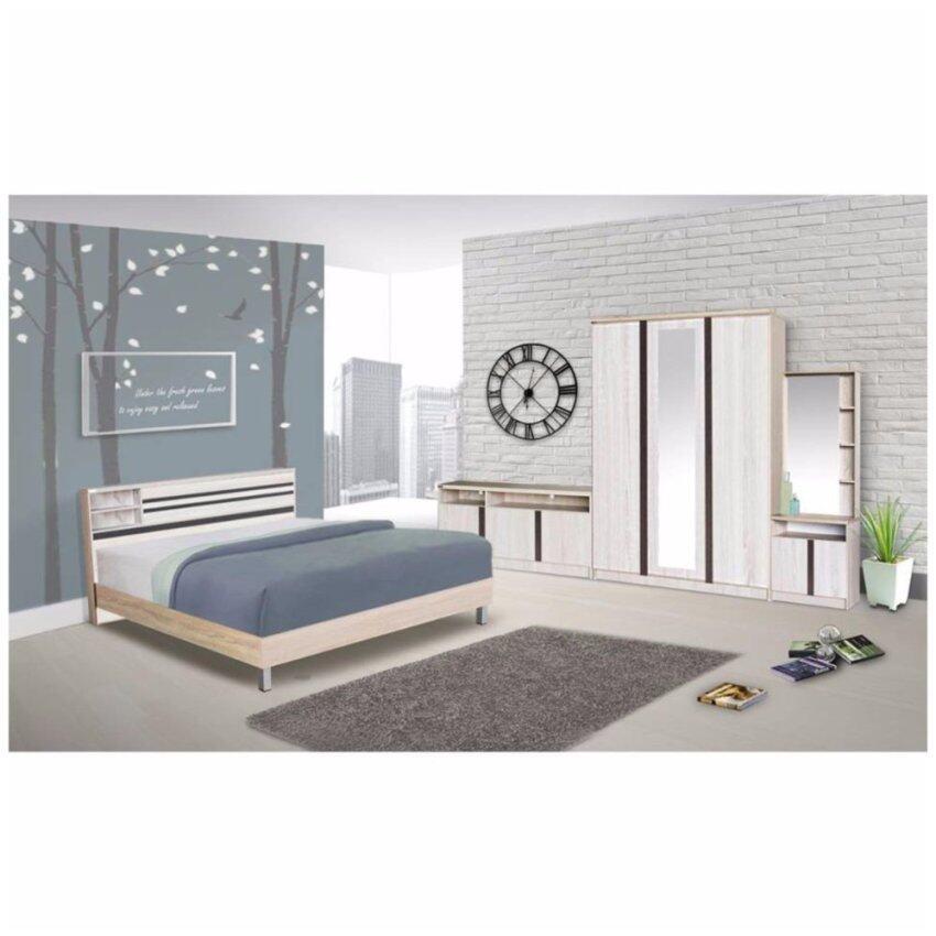 RF Furniture ชุดห้องนอน สีโซลิด/ดำ ขนาด 6 ฟุต + ตู้เสื้อผ้า 3 บาน + โต๊ะแป้งยืน60 cm + ตู้วางทีวี 120 cm + ที่นอนสปริง ( สีโซลิค/ดำ ) ช็อปง่ายๆทุกวัน
