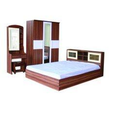 RF Furniture ชุดห้องนอนDD ขนาด 6 ฟุต เตียง 6 ฟุต + ตู้เสื้อผ้า 3 บาน + โต๊ะแป้ง 80 cm + ที่นอนสปริง ( สีวอลนัท )