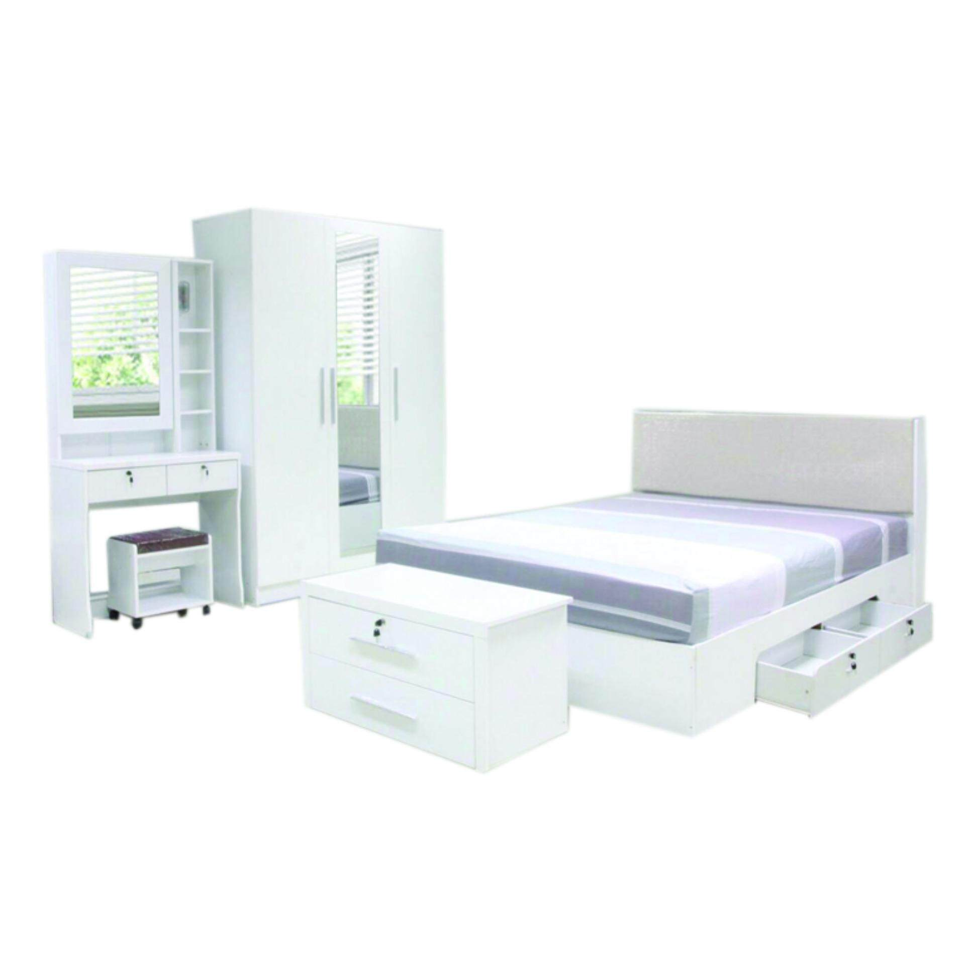 RF Furniture ชุดห้องนอน DD รุ่น Milan Set ขนาด 6 ฟุต เตียง 6 ฟุต +  ตู้เสื้อผ้า 3 บาน + โต๊ะแป้ง 80 Cm ( สีขาว ) | Lazada.co.th