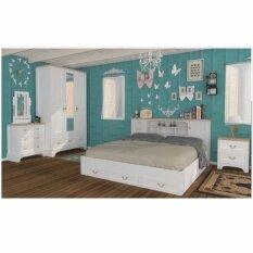 RF Furniture ชุดห้องนอJASMINE/จัสมิน Set 5 ฟุต เตียง 5 ฟุต + ตู้เสื้อผ้า 3 บาน + โต๊ะแป้ง 80 cm + ตู้ข้างเตียง ( สีขาว/บีช)
