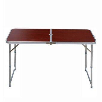 ขายด่วน Room Story โต๊ะพับอลูมิเนียม แบบกระเป๋าพกพา ลายไม้ (สีน้ำตาลเข้ม)