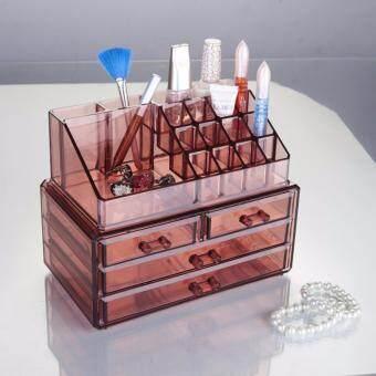 Room Story Cosmetic BoxJewelry Box : กล่อง 4 ชั้น 4 ลิ้นชัก สำหรับใส่เครื่องสำอาง และเครื่องประดับ (สีน้ำตาล)