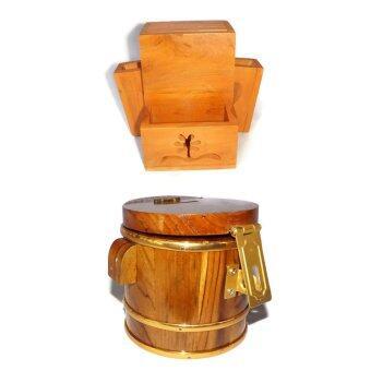 RTT ที่เก็บมีด เก็บช้อนซ้อม ไม้สักทอง เบอร์ใหญ่ และถังประปุกออมสินไม้สักทอง (4นิ้ว) แพ็คคู่