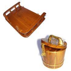 RTT หิ้งวางพระไม้สักทอง ขนาด 50 ซ.ม (13*20 นิ้ว) และ ถังกระปุกออมสินไม้สักทอง ไซส์ 6*6*6.5 นิ้ว แพ็คคู่