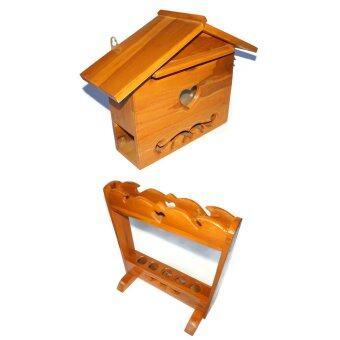 RTT ตู้จดหมายไม้สักทอง ไซส์ใหญ่ และ ที่เสียบร่มและไม้กวาด ไม้สักทอง แพ็คคู่