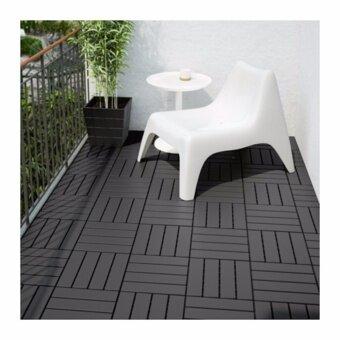 RUNNEN แผ่นปูพื้น กลางแจ้ง Floor decking outdoor 30*30 cm (เทาเข้ม)