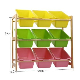 RuYiYu - 64 X 59 X 29cm Kids Toy Organizer and Storage Bins 9-Bins in Fun Colors Toy Storage Rack Natural/Primary - intl