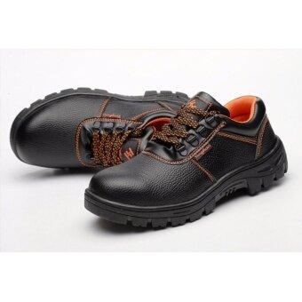 Safety shoes รองเท้าเซฟตี้ หนังแท้ พื้นยางกันลื่น หัวเหล็ก พื้นเสริมแผ่นเหล็ก
