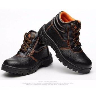 Safety shoes รองเท้าเซฟตี้หุ้มข้อเท้า หนังแท้ พื้นยางกันลื่น หัวเหล็ก พื้นเสริมแผ่นเหล็ก