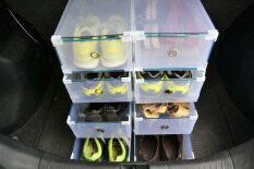 """SECEN HOME - กล่องรองเท้าอเนกประสงค์ สีใส แบบลิ้นชัก ใส่รองเท้าส้นสูง, เอกสาร A4 (8 กล่อง) """"Size ใหญ่"""""""