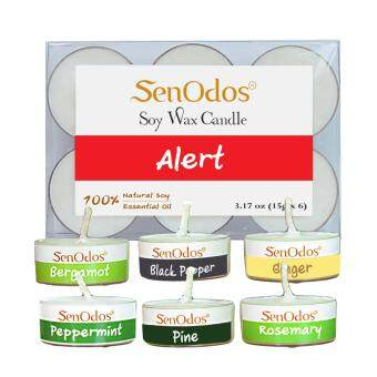 SenOdos 100% Alert Emotional Scented Soy Candles with Pure Essential Oils (Tealights 15g x 6 pcs) (Agarwood Lavender Patchouli Rose Sandalwood Ylang Ylang)