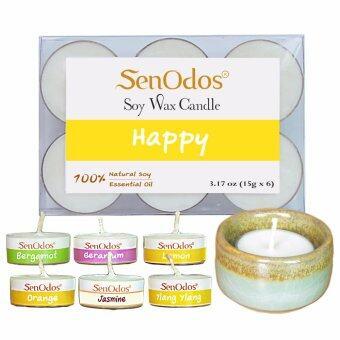 SenOdos Emotional Scented Soy Candles Aroma Fresh เทียนหอมอโรม่า (แพ็ค 6 ชิ้น)+ เชิงเทียน ที่วางเทียนทีไลท์ ศิลาดล (เซลาดล) สีเขียวหยกขอบทอง