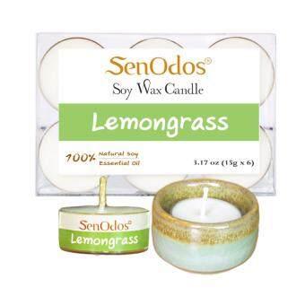 SenOdos เทียนหอม อโรม่า เทียนทีไลท์ Tealight Set Lemongrass Scented Soy Candles Aroma - กลิ่นตะไคร้แท้ 15 g. (6 PCS) + เชิงเทียน ที่วางเทียนทีไลท์ ศิลาดล (เซลาดล) สีเขียวหยกขอบทอง