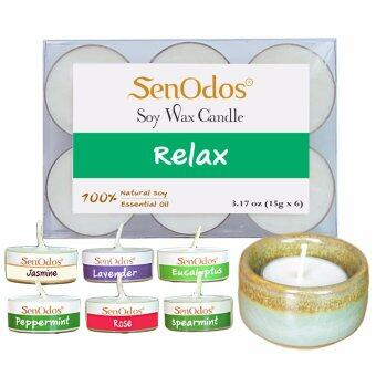 SenOdos กลิ่นสงบพักผ่อน Soy Candles Aroma Relax เทียนหอมอโรม่า (แพ็ค 6 ชิ้น) + เชิงเทียน ที่วางเทียนทีไลท์ ศิลาดล (เซลาดล) สีเขียวหยกขอบทอง