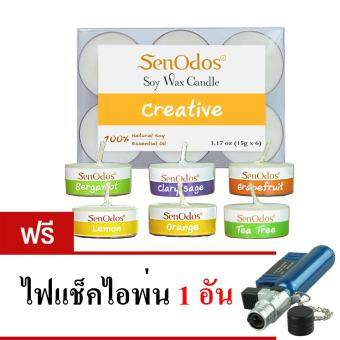 SenOdos กลิ่นสร้างสรรค์ Emotional Scented Soy Candles Aroma Creative เทียนหอมอโรม่า ขนาดพกพา ขนาดทดลอง (มะกรูด แครี่เสจ เกรบฟรุต เลมอน ส้ม ทรีทีออยล์) (แถมฟรี ไฟแช็คไอพ่น 1 อัน)