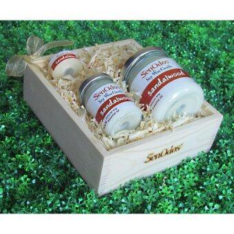 SenOdos Lover Set ชุดของขวัญ ชุดกิ๊ฟเซ็ต Gift Set เทียนหอม อโรม่า Sandalwood Scented Soy Candle Aroma Set ชุดเทียนกลิ่นไม้หอมแก่นจันทร์แท้ บรรจุในกล่องไม้สน รูปทรงเหลี่ยม สวยงาม คุณภาพดี นำเข้าจากนิวซีแลนด์