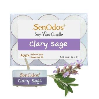 SenOdos เทียนหอมอโรม่า ทีไลท์ Tealight Set Clary Sage Soy Candles กลิ่นแครี่เซจ ขนาดพกพา 15 g. (6 ชิ้น)