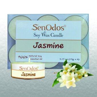 SenOdos เทียนหอม อโรม่า Tealight Set Jasmine Scented Soy Candles Aroma - กลิ่นมะลิแท้ 15g. (6 PCS)