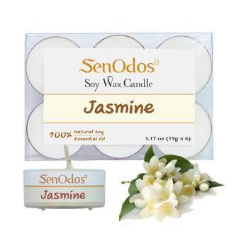 SenOdos เทียนหอม อโรม่า ทีไลท์ Tealight Set Jasmine Scented Soy Candles Aroma - กลิ่นมะลิแท้ 15g. (6 PCS)