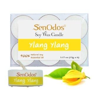 SenOdos เทียนหอมอโรม่า ทีไลท์ Tealight Set Ylang Ylang Soy Candles กลิ่นกระดังงา ขนาดพกพา 15 g. (6 ชิ้น)