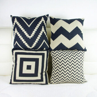 Set of 4 Retro Style Throw Pillow Case Pillowcase Sofa Home Decor Cushion Cover