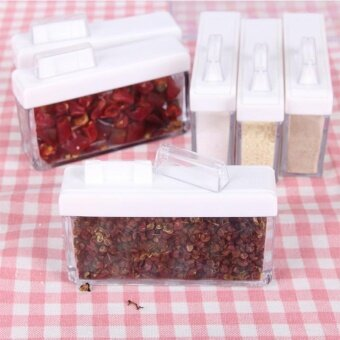 Set Of 6 Spice Jar Storage Seasoning Boxes Kitchen Condiment Storage Container With Tray For Salt Sugar Cruet Specification:18*10.5*5.5cm