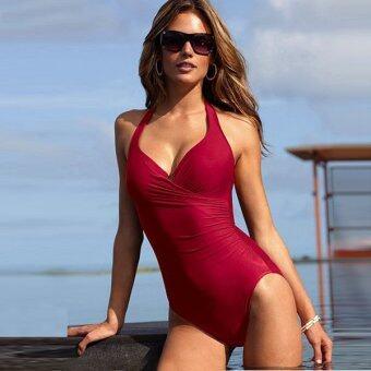 Sexy Halter-neck V-Neck Underwire One-piece Swimsuit Swimwear Bikini with Short Skirt - Size L (Red)