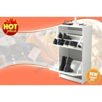 Shoe cabinet ตู้เก็บรองเท้า 2 ชั้น ชั้นวางรองเท้าตู้รองเท้าเอนกประสงค์ ขนาด 49x93 cm รุ่น BISSA (สีขาว)