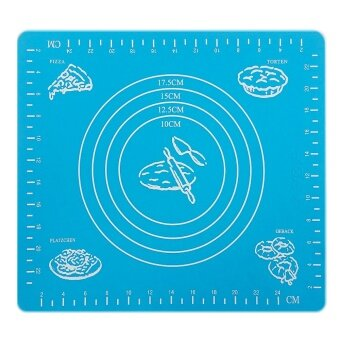 Silicone Nonstick Cake Fondant Dough Rolling Mat Pastry Bake Baking Mat with Measurement Scale Bakeware Cooking Tools Blue - intl