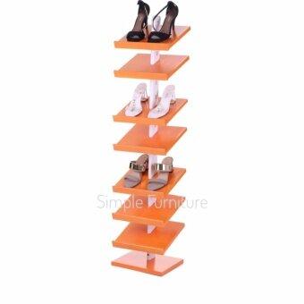 Simple Furniture ชั้นวางรองเท้าไม้ยางพารา สีส้ม (ทรงคอนโด)