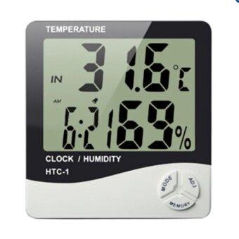 smile C เครื่องวัดอุณภูมิและความชื้น พร้อมฟังก์ชั่นนาฬิกาปลุก HTC-1 - White