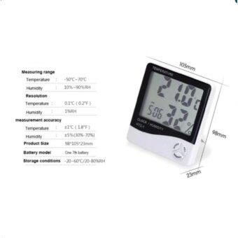 smile C เครื่องวัดอุณภูมิและความชื้น พร้อมฟังก์ชั่นนาฬิกาปลุก HTC-1 - White - 5