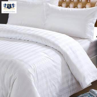 Solomon ชุดผ้าปูที่นอน ขนาด 5 ฟุต (1 ชุด มี 5 ชิ้น) - สีขาวริ้ว