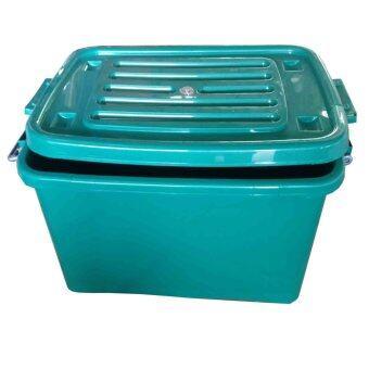SPK Shop กล่องพลาสติก กล่องใส่ของ อเนกประสงค์ มีล้อเลื่อน รุ่น 100B (สีเขียว)