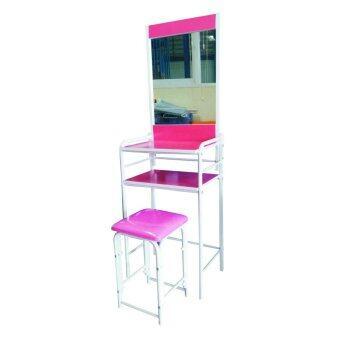 SPK SHOP โต๊ะเครื่องแป้งพร้อนสตูลเหล็ก รุ่น ชั้นวางของเป็นไม้(สีชมพู)