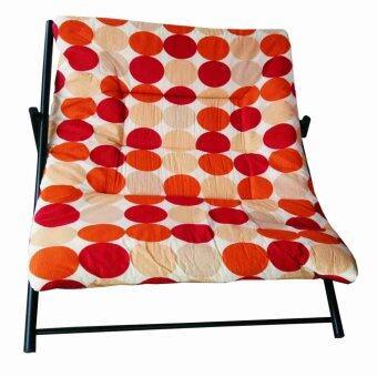 จัดโปรโมชั่น SPK SHOP เตียงนอนพักผ่อน โครงเหล็ก นอนคู่ รุ่น นอนนั่งพับได้ ผ้าลาย (สีโทนลายส้ม)