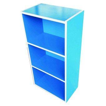 SPK Shop ตู้เก็บของ ชั้นไม้อเนกประสงค์ กล่องอเนกประสงค์ 3 ชั้นโล่ง(สีฟ้า)