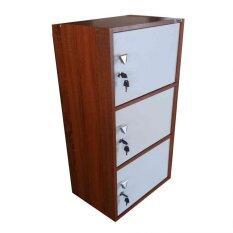 SPK Shop ตู้ล็อคเกอร์ ตู้เอนกประสงค์ ชั้นวางของ 3 ชั้น รุ่น Box 3 (สีหน้าบานขาว/ลายไม้lสัก)