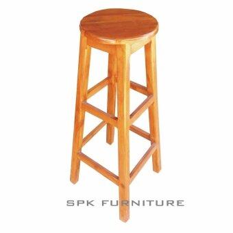 Spk shop เก้าอี้บาร์ไม้จริง รุ่นท๊อปกลม สูง 80 ซม (สีไม้สักทอง)