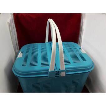 Srithai superware ตะกร้าพลาสติกหนา(สินค้านำเข้า)มีหูหิ้วและฝาเปิดปิด2ด้าน ขนาด 10x15x10นิ้ว สีฟ้า