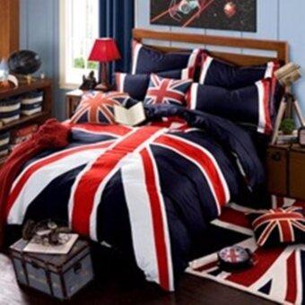 SS-114 ชุดผ้าปูที่นอน 5 ชิ้น พร้อมผ้านวมหนา 6 ฟุต พื้นสีน้ำเงิน ธงชาติอังกฤษ