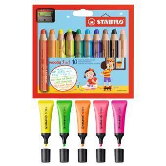 อยากขาย STABILO Woody 3in1 ดินสอสี เเท่งใหญ่พิเศษ ชุด 10 สี + STABILO Neonปากกาเน้นข้อความ - Yellow/ Green/ Orange/ Pink/ Magenta อย่างละ 1ชิ้น