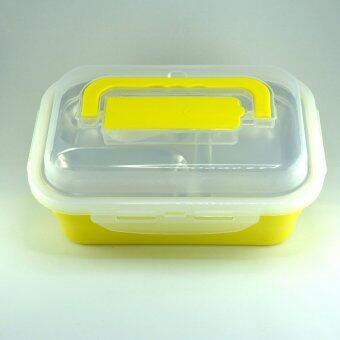 กล่องข้าวหลายช่องแบบ Stanless สีเหลือง หิ้วได้ พร้อมช่องเก็บช้อน