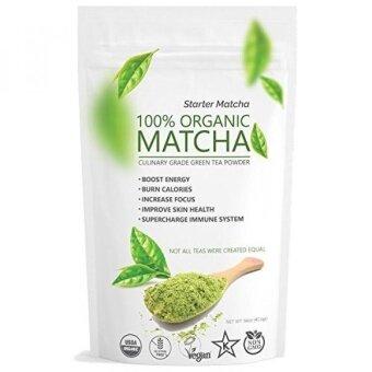 Starter Matcha (16oz) - USDA Organic Kosher  Non-GMO Certified Vegan and Gluten-Free. Pure Matcha Green Tea Powder. Grassy Flavor with Mild Natural Bitterness and Autumn-Green color. Make Latte - intl