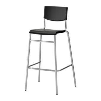 STIG เก้าอี้บาร์มีพนัก Bar stool with backrest สูง 74 cm (ดำ-เงิน)