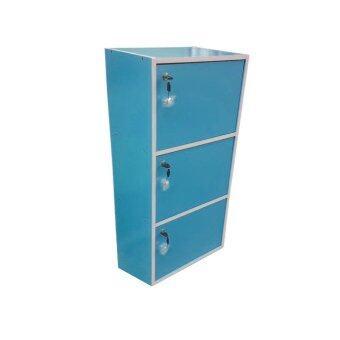 SUN กล่องคัลเลอร์บ็อกไม้อเนกประสงค์ 3ชั้น 3ประตู+กุญแจเปิด-ปิด (สีฟ้า)