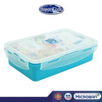 Super Lock กล่องอาหารกลางวัน พร้อมช้อนส้อม 850 ml สีฟ้า รุ่น 6189