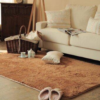 พรมปูพื้นห้องนอน พรมปูพื้นห้องรับแขก พรมปูพื้น พรมปูพื้นห้อง Super Soft ขนยาวพิเศษ 4.5 cm ขนาด 80*120 cm สีน้ำตาล