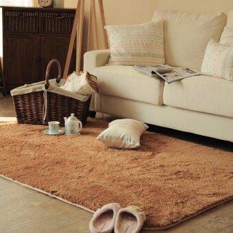 พรมปูพื้นห้องนอนพรมปูพื้นห้องรับแขกพรมปูพื้น พรมปูพื้นห้อง Super Soft ขนยาวพิเศษ 4.5 cm ขนาด 80*160 cm สีน้ำตาล