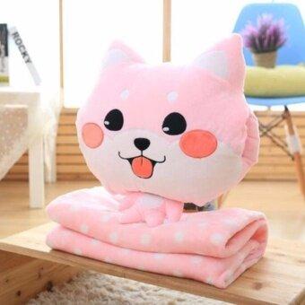 Sweet kip ตุ๊กตาหมอนผ้าห่มแมว ตัวใหญ่เนื้อผ้านาโนอย่างดี สีชมพู